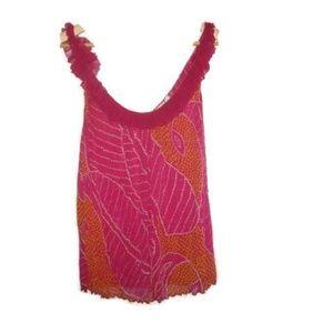 Diane Von Furstenberg DVF Silk Ruffle Pink Top M